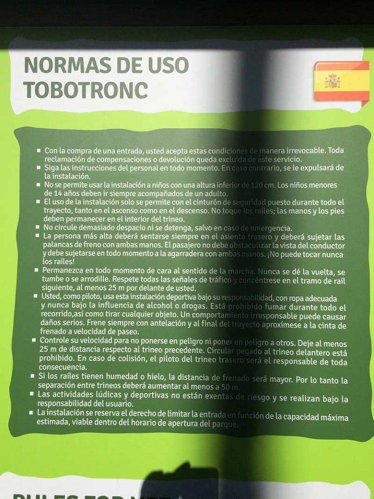 Tobotronc Andorra - Normas de uso del Tobotronc