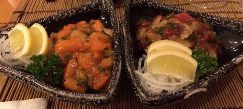 Platos SA 6 y SA 7. Sashimi picante de salmón y de atún