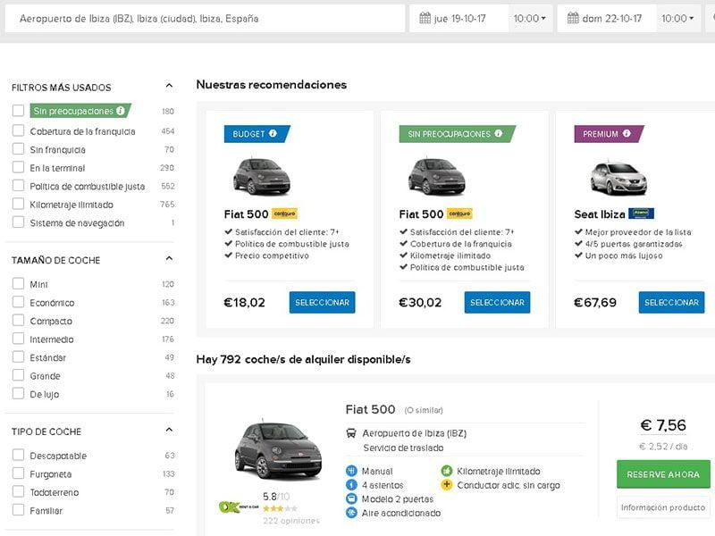 Alquilar un coche en Ibiza - Servicio de Easy Terra