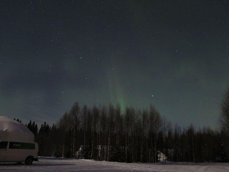 Auroras Boreales en Rovaniemi - Leve reflejo