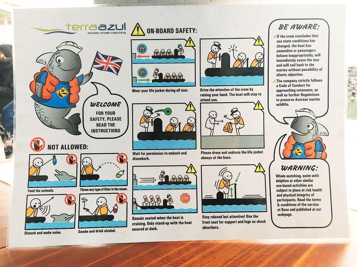 Avistamiento ballenas azores - Whale Watching Terra Azores - Instrucciones de seguridad