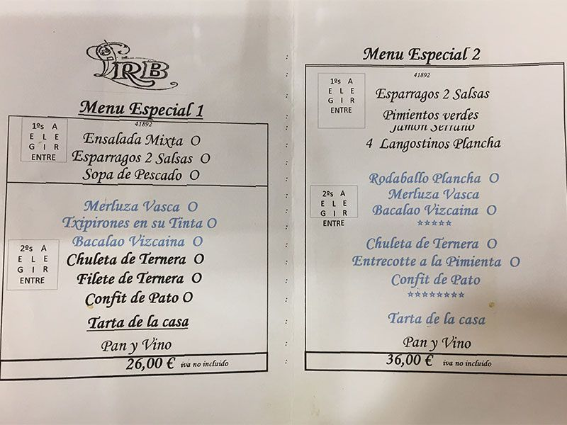 San Juan de Gaztelugatxe - Carta menú del restaurante Beitxi