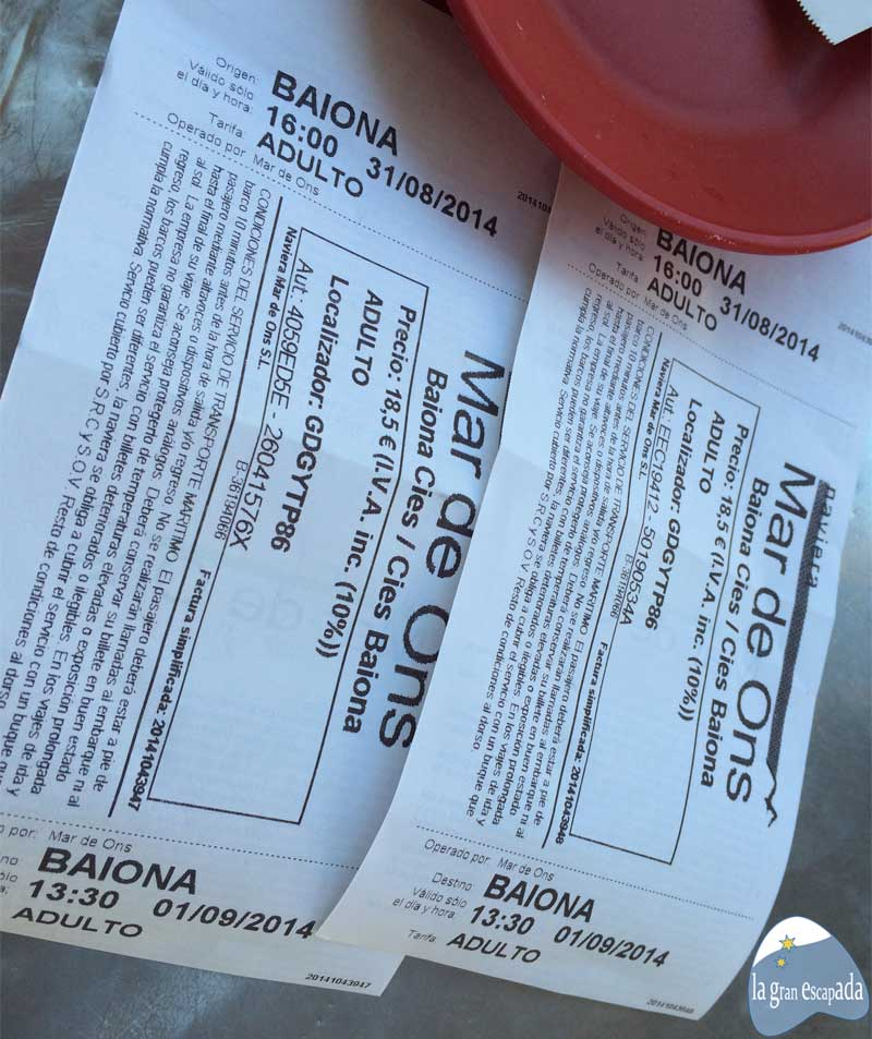 Billetes para viajar a las Islas Cíes desde Baiona. Dormir en las Islas Cíes