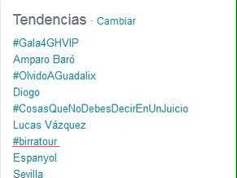 #birratour consigue ser Trending Topic