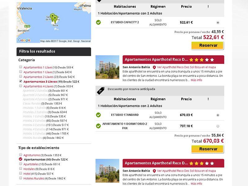 Listado de hoteles de HotelNights en Ibiza en base a nuestros filtros