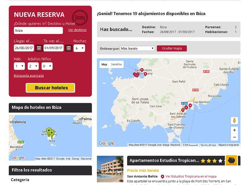 Mapa con los resultados del buscador HotelNights