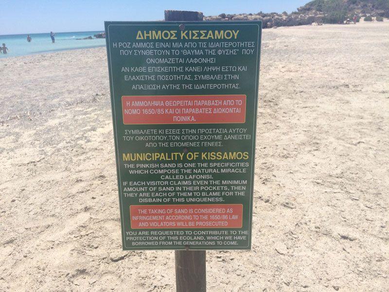 Está prohibido llevarse arena de la playa de Elafonisi