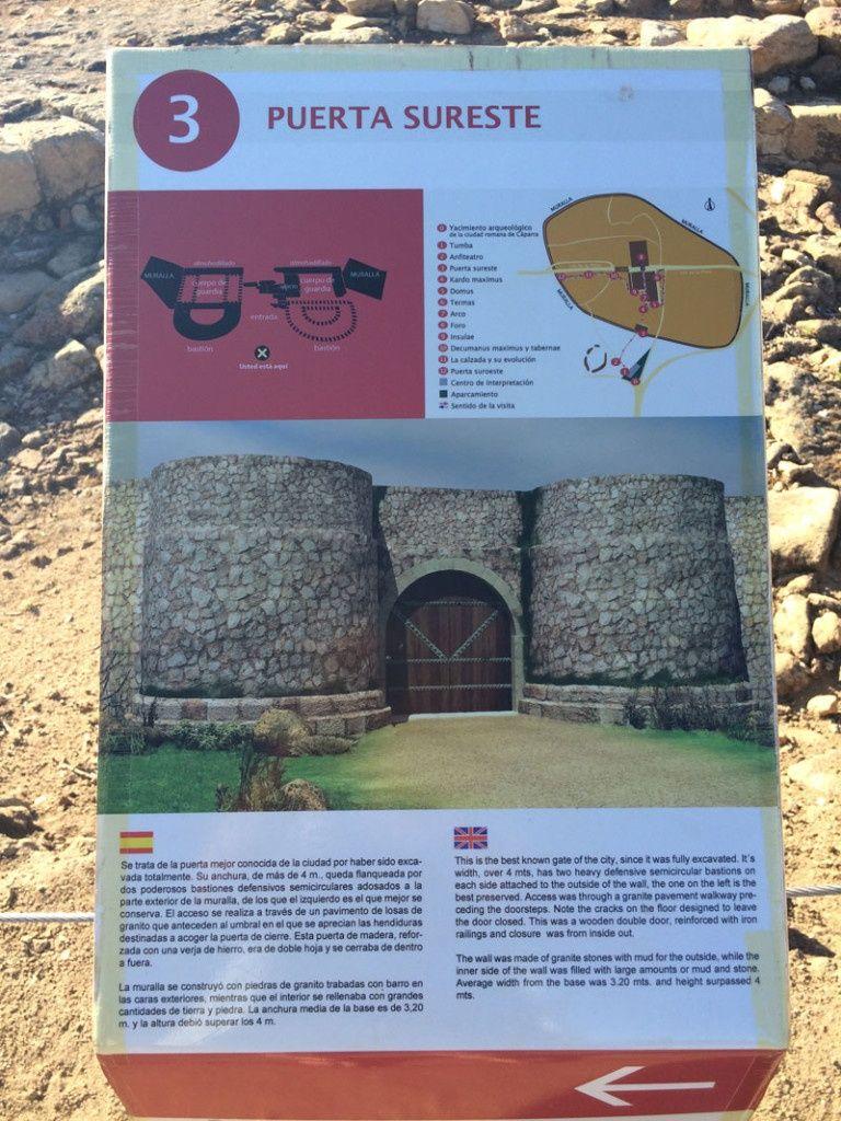 Ciudad romana de Cáparra - Cáceres - Cartel de la Puerta Sureste