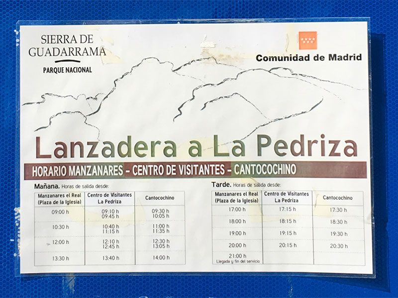 Cómo llegar a la Charca Verde - La Pedriza - Horarios bus lanzadera