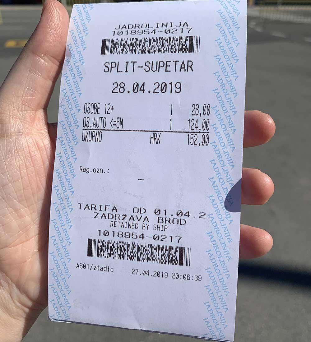 Cómo llegar a Brač - Tarjeta de embarque