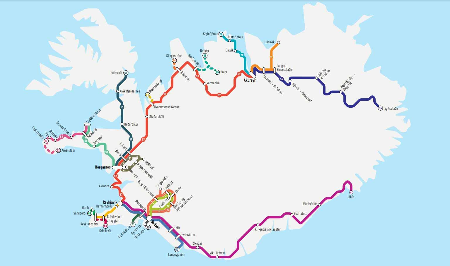 Mapa que detalla las rutas del Norte, Sur, Oeste, Noroeste y Noreste para moverse por Islandia