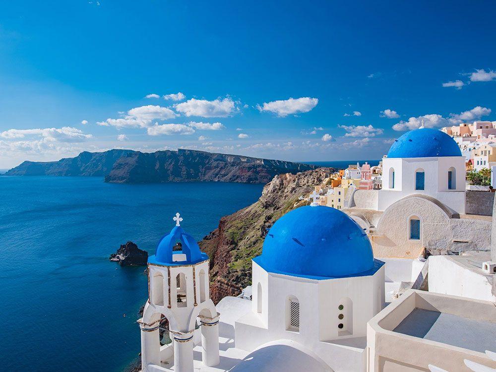 Cúpulas azules de Santorini