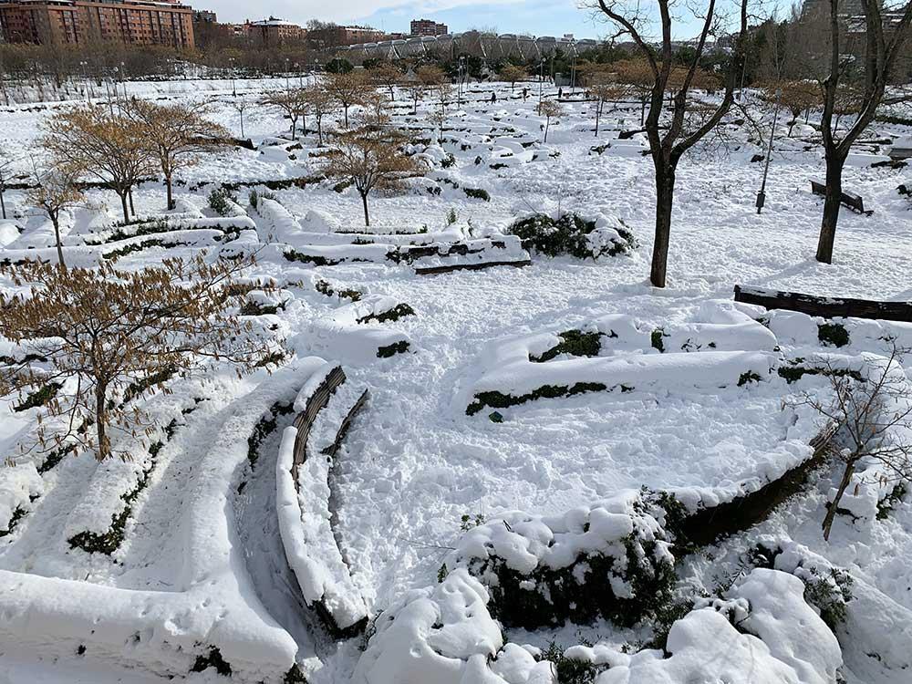 Madrid Río nevado
