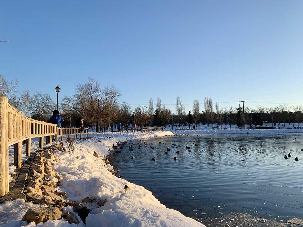 Parque de las Cruces nevado