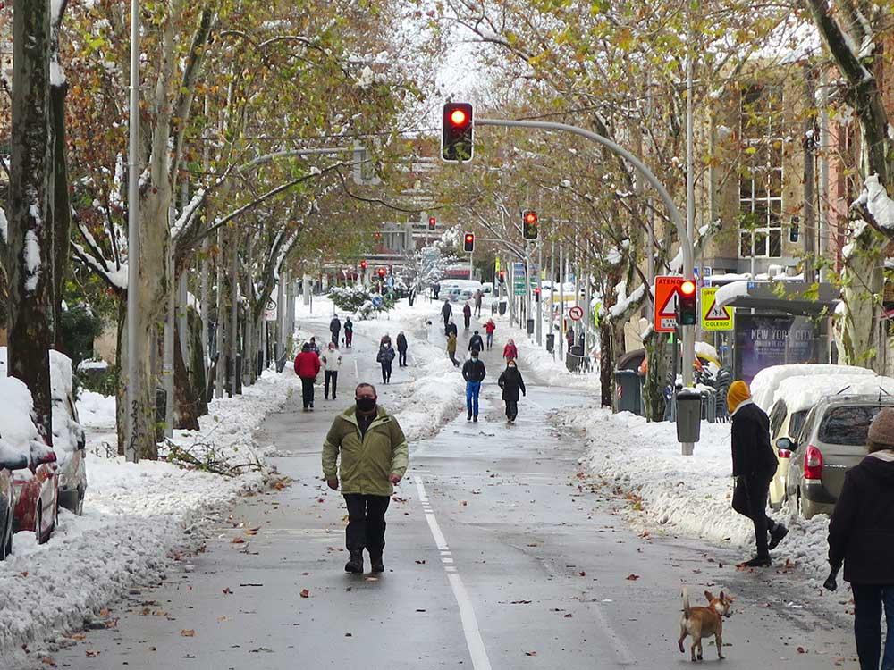 Filomena convirtió en peatonal todo Madrid