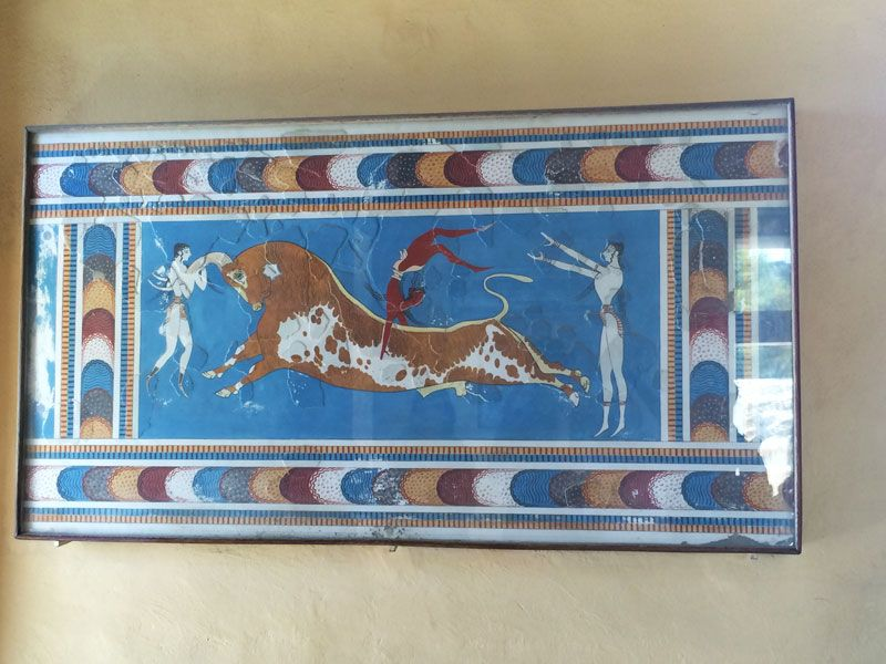 Fresco en honor a las fiestas taurinas de la época Minoica - Palacio de Knossos