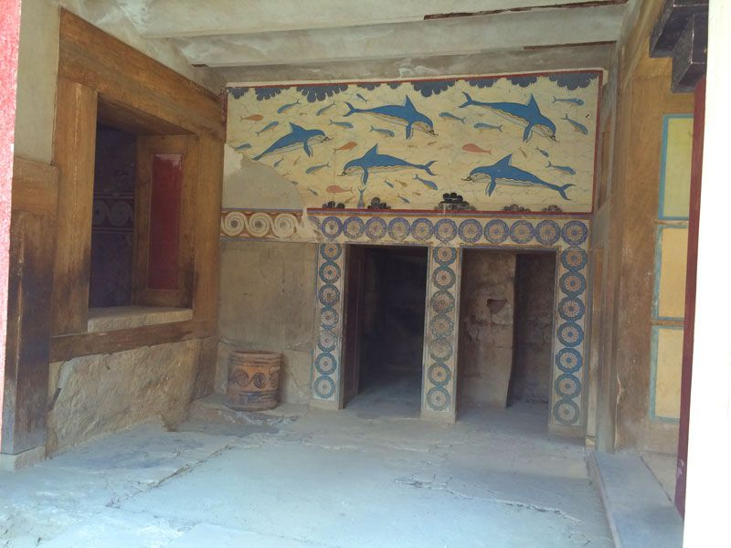 Fresco de los delfines en la estancia de la Reina - Palacio de Knossos