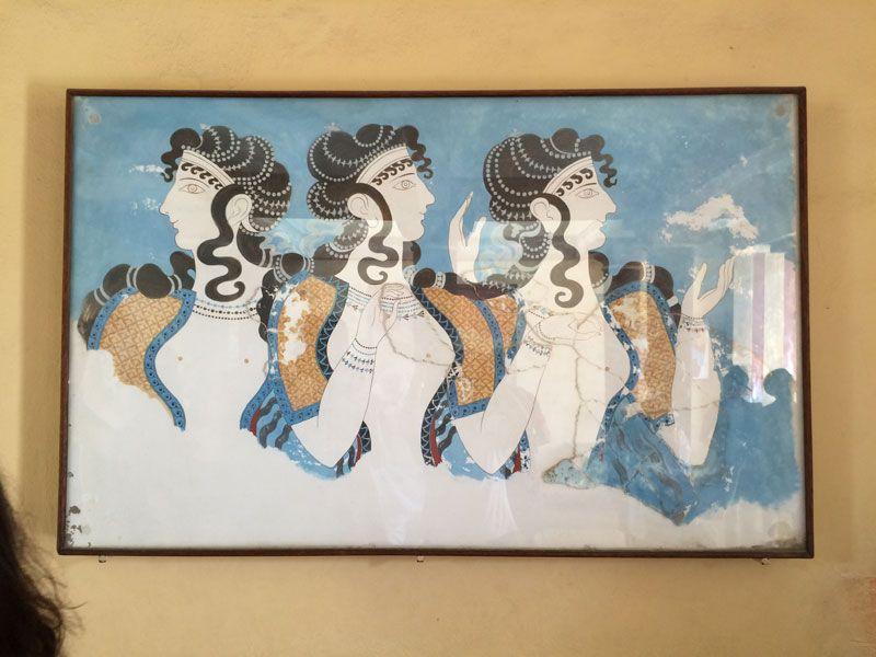 Reproducción de uno de los frescos originales del Palacio de Knossos
