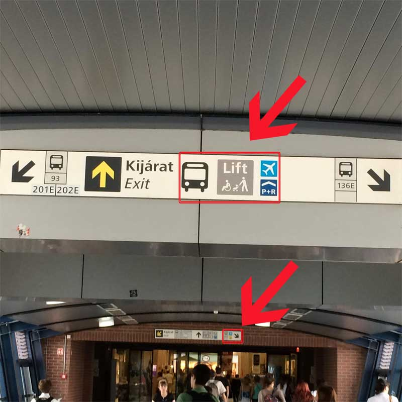Indicaciones para salir al andén del autobús 200E