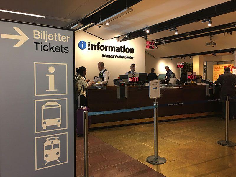 Cómo ir del aeropuerto de Arlanda al centro de Estocolmo - Transporte público - Zona del aeropuerto donde se venden las tarjetas de transporte