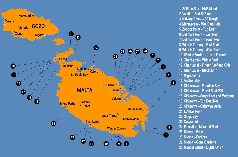 Malta - Mapa de buceo