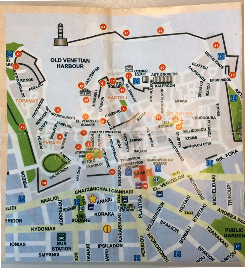 Mapa del casco antiguo de Chania