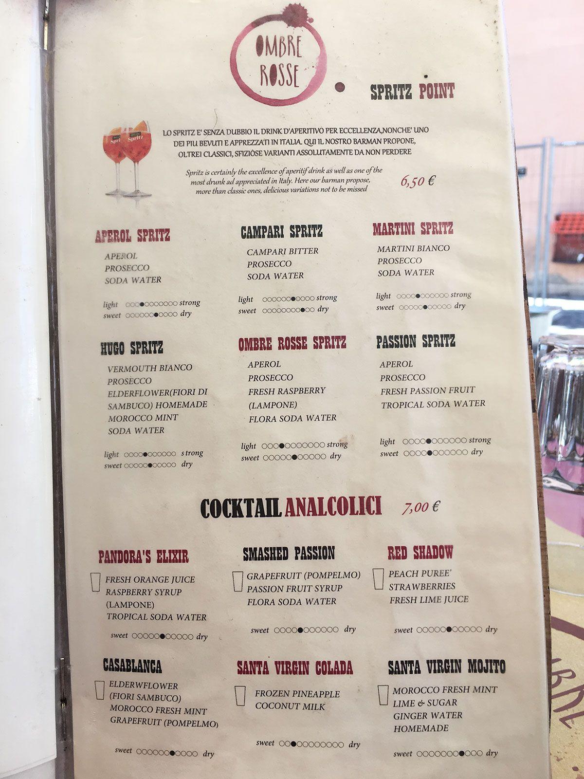 Ombre Rosse - Restaurante en Trastevere - Roma - Carta de spritz