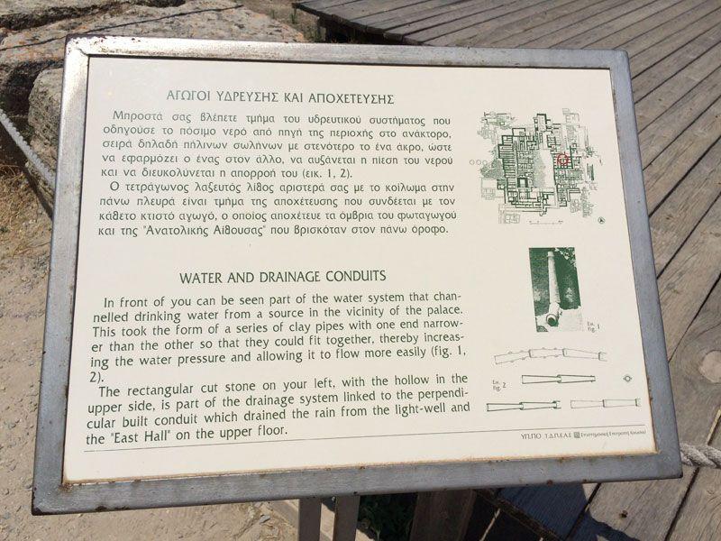 Palacio de Knossos - Panel informativo sobre el sistema de canalización