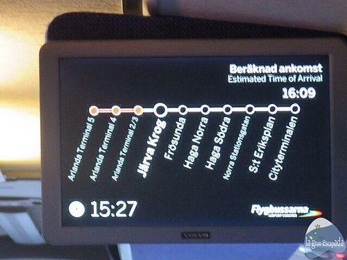 Pantalla con las paradas del autobús Flygbussarna