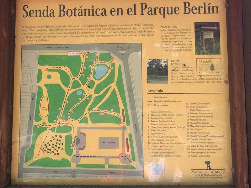 Parque de Berlín - Madrid - Panel informativo