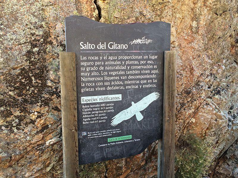 Parque Nacional de Monfragüe - Cartel informativo del Salto del Gitano