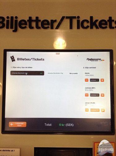Seleccionando el número de billetes autobús Flygbussarna - Ir del aeropuerto de Arlanda a Estocolmo