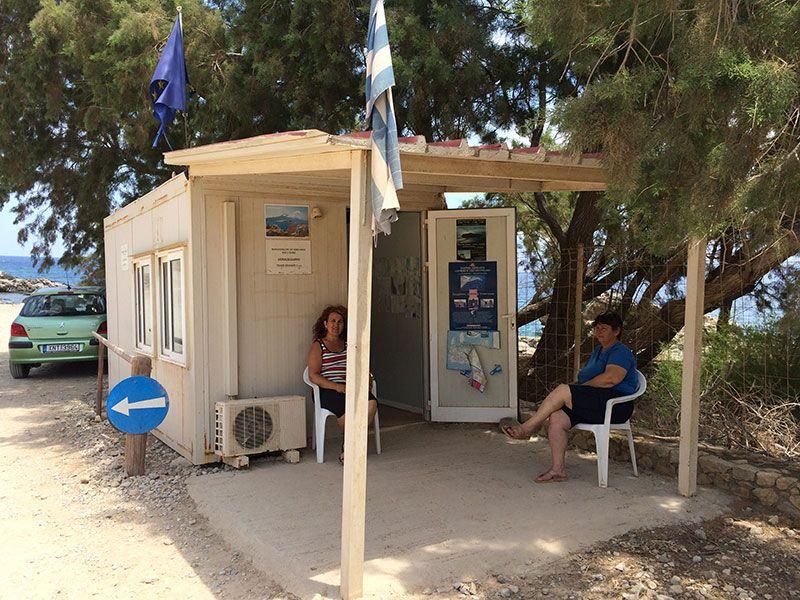Playa de Balos - Creta. Caseta donde pagar la tarifa de 1€ para entrar en el Parque Natural