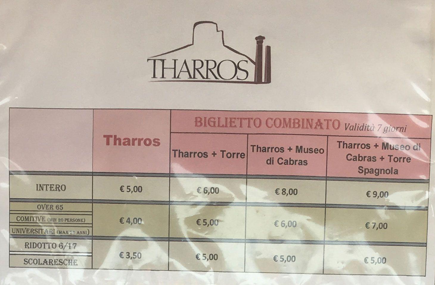 Qué ver en Cerdeña - Precios para visitar Tharros