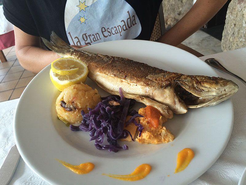 Lubina fresca en el restaurante Es Forat.