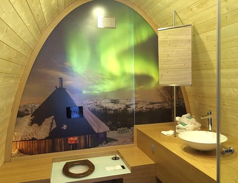 Baño de las cabinas del Snow Hotel