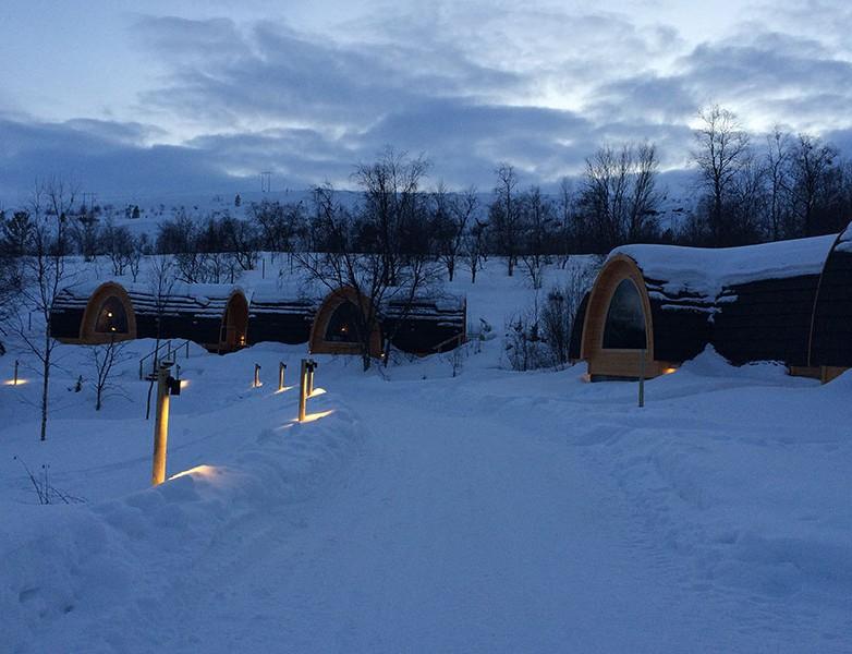 Exteriores de las cabinas del Snow Hotel