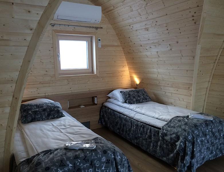 Camas de las cabinas del Snow Hotel