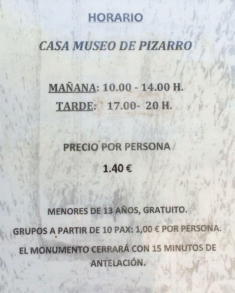 Horario y precio del Museo de Francisco Pizarro de Trujillo