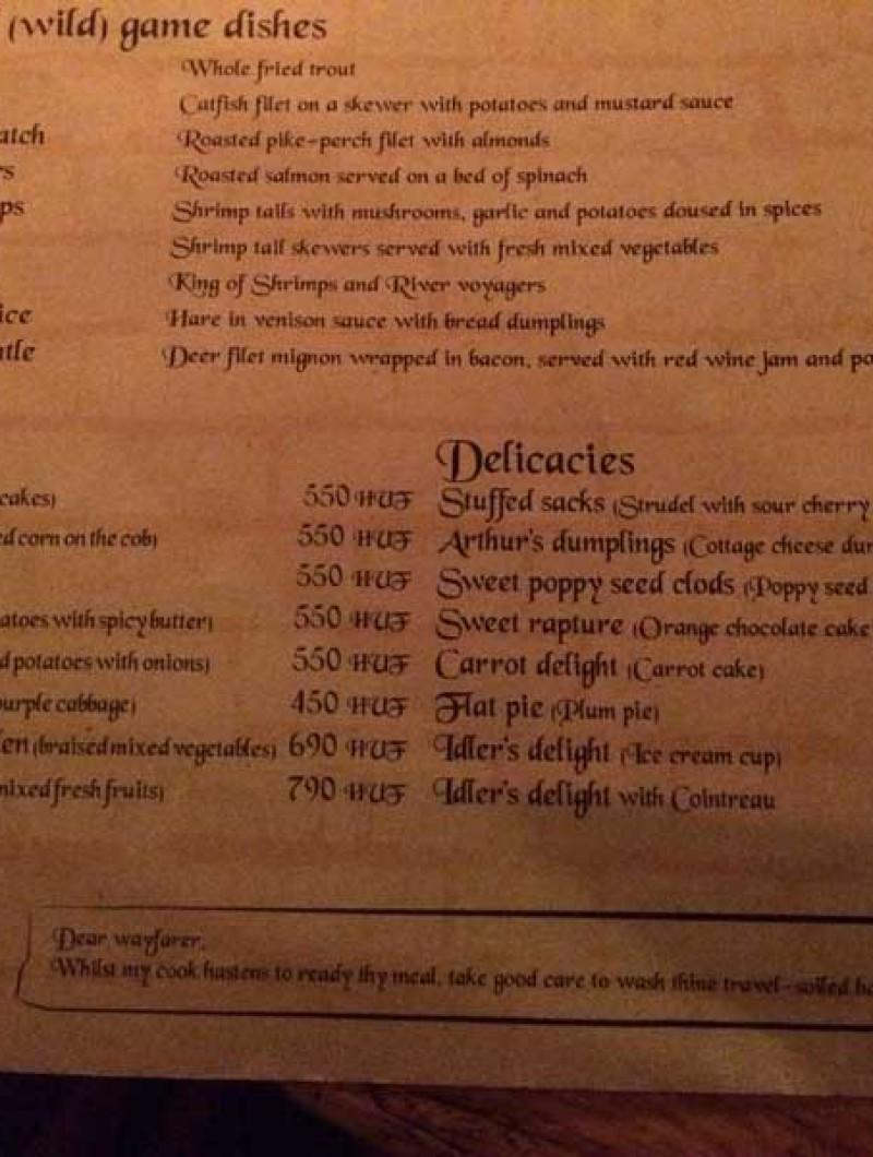 Pescados, vegetales y postres del restaurante Sr. Lancelot