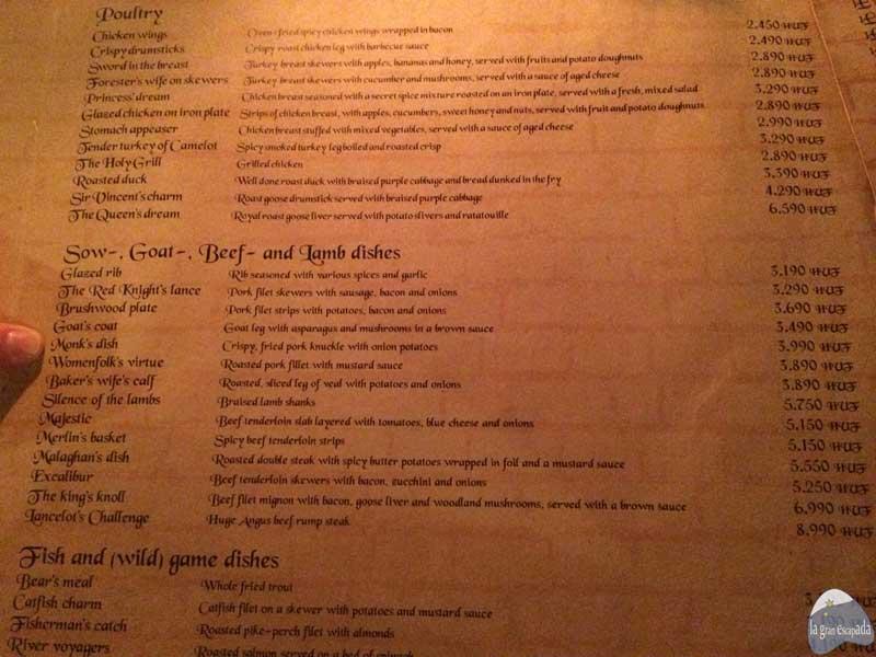 Algunas opciones de carne del restaurante Sr. Lancelot