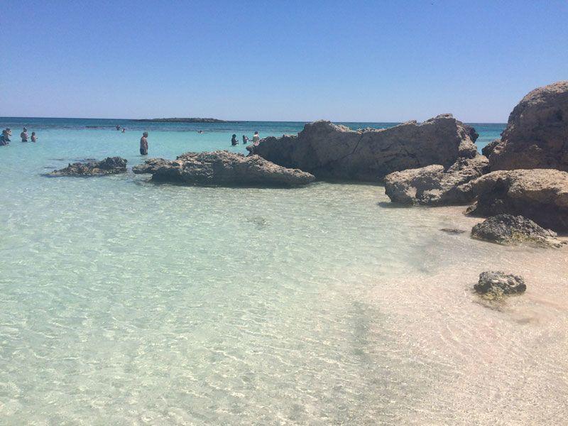 Zona pedregosa de la playa de Elafonisi