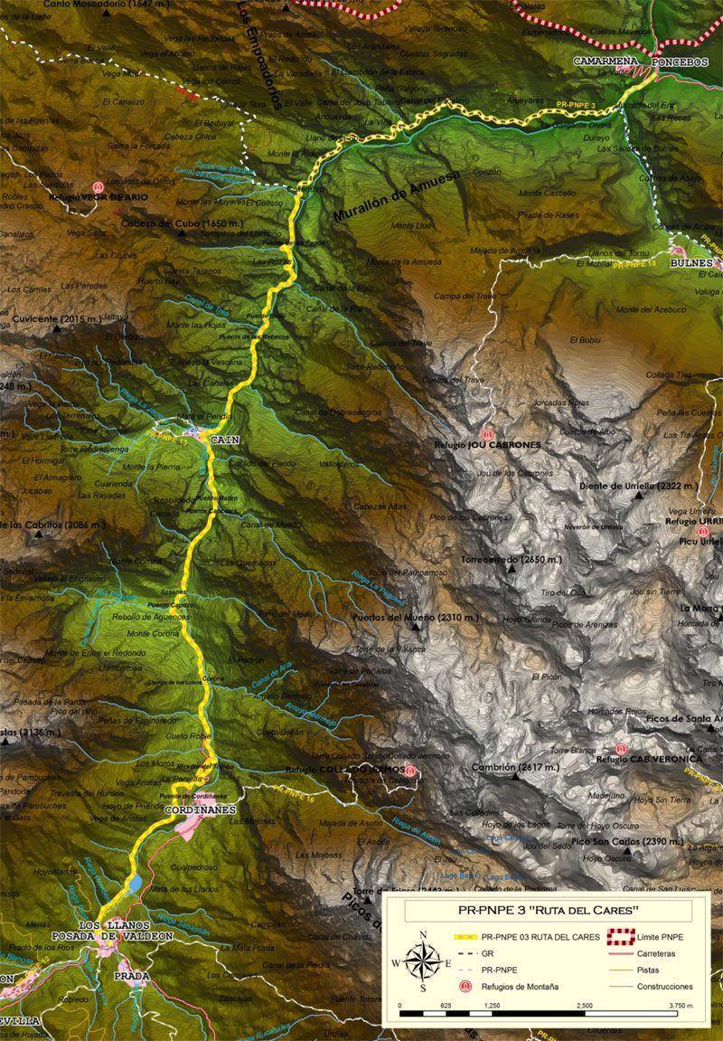 Mapa de la Ruta del Cares entre Caín y Poncebos
