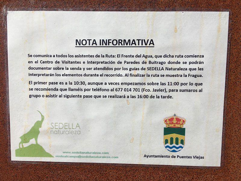 Ruta Frente del Agua - Paredes de Buitrago - Madrid - Nota informativa