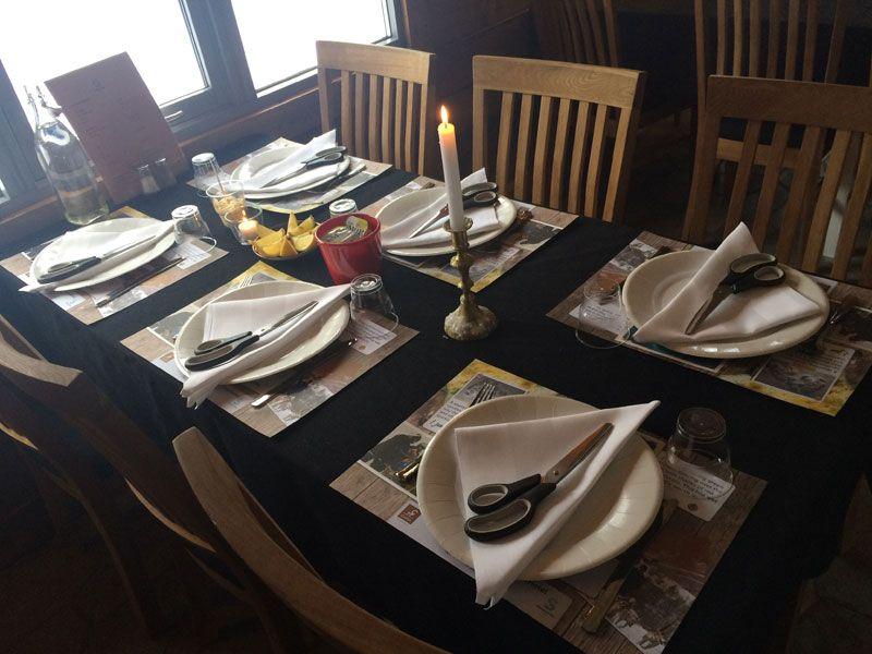 Safari de cangrejo real en Noruega - Mesa del restaurante