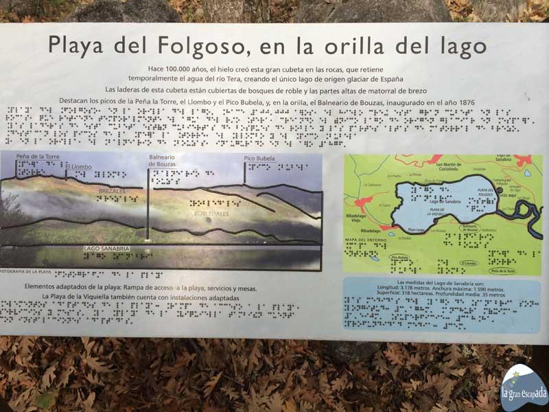 Senderismo por el Lago de Sanabria - Cartel de la playa del Folgoso