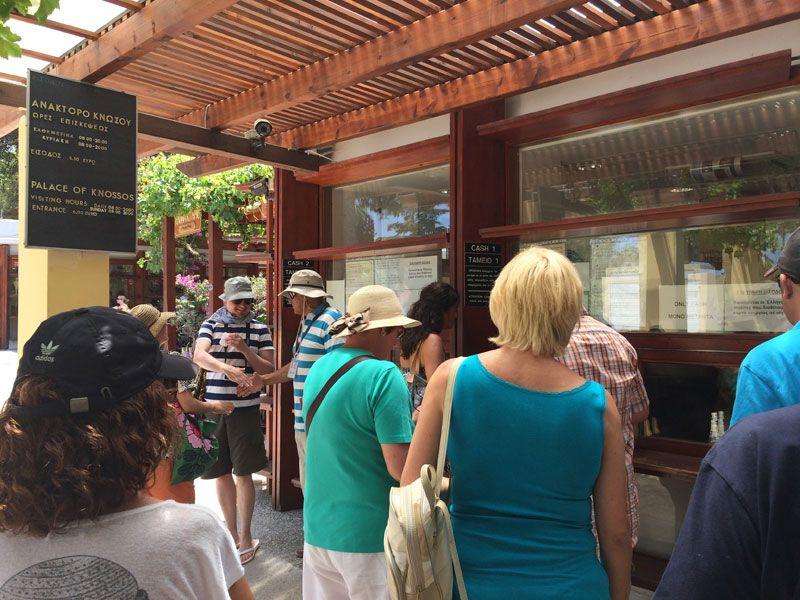 Taquilla para entrar al Palacio de Knossos