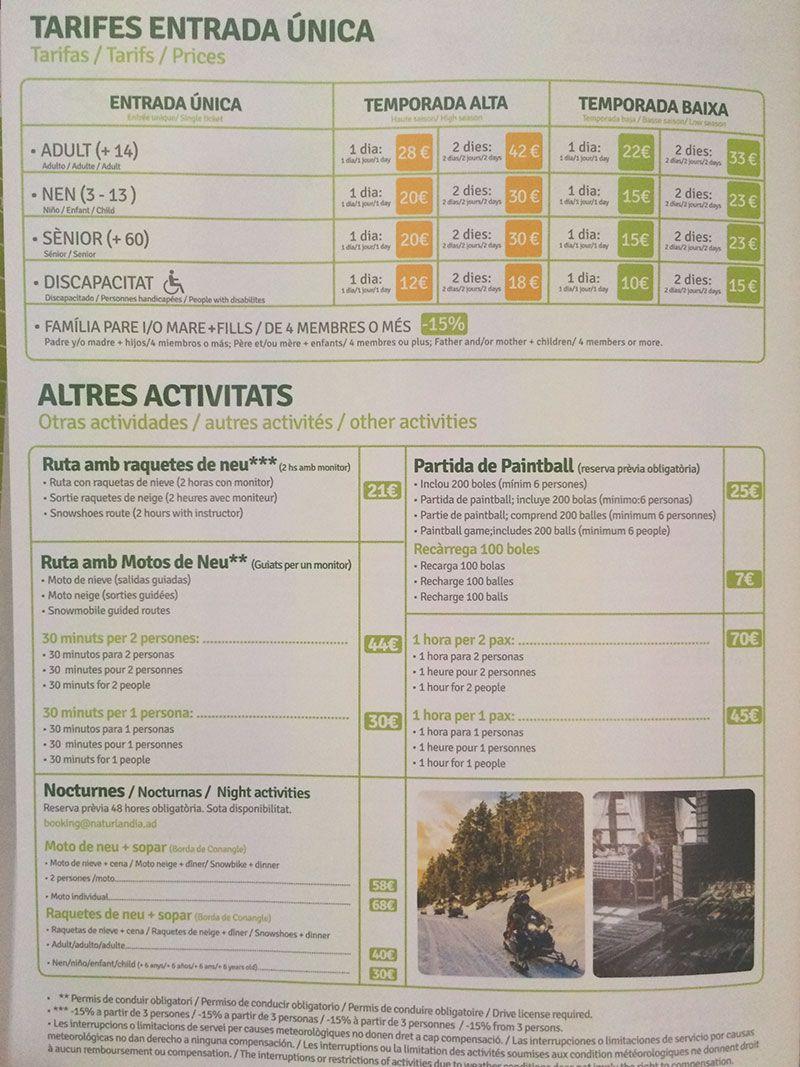 Tobotronc Andorra - Actividades y precios